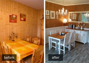 Dining area before and after