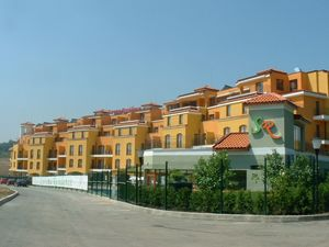 Holiday complex with restaurant and swimming pool near sea