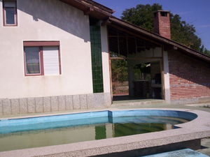 a house with a swimming pool