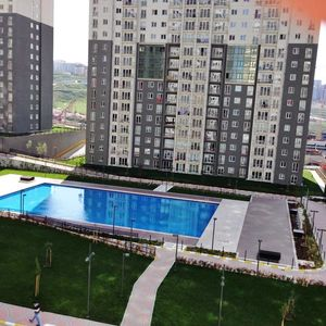 Furnished 1+1 compound apartment pool view for sale Istanbul